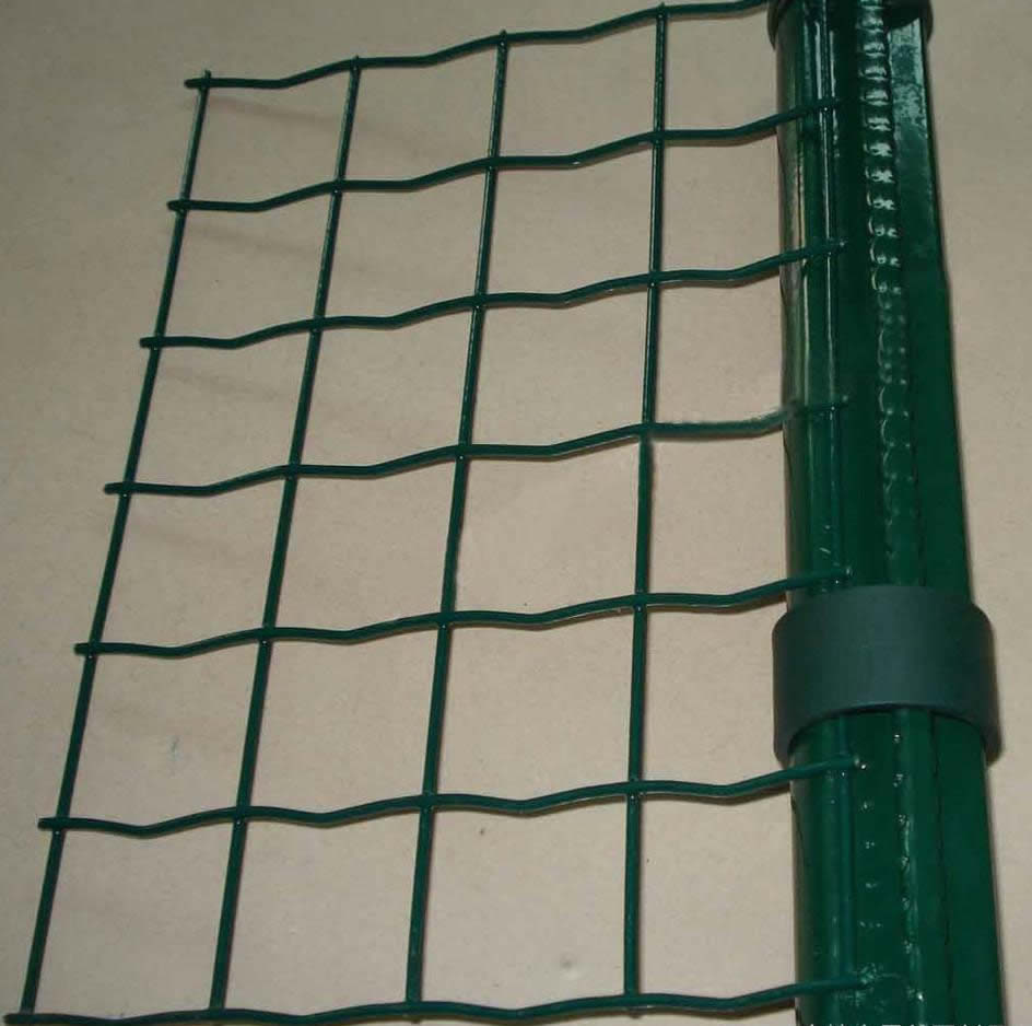 Powder Coated Euro Fence Panel On The Green Post